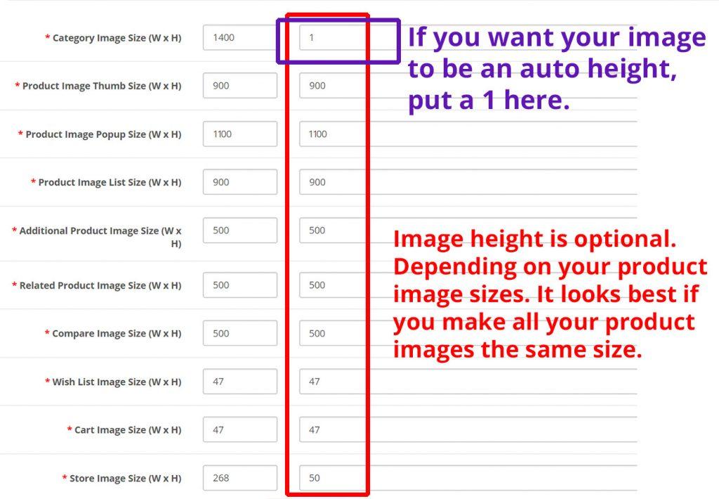 Opencart Image Sizes